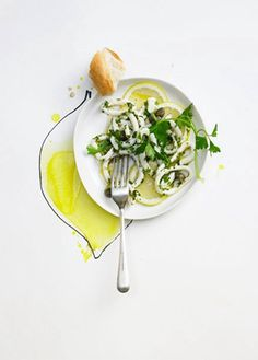 By Dietlind Wolf. food style. Photo Illustration mix yellow Color Citrin Lemon fish calamari