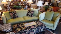 Beautiful custom made green velvet sofa with matching chair available seen at The Courtyard.  Like us on Facebook to see our weekly arrivals:  https://www.facebook.com/pages/The-Courtyard/419086284795890