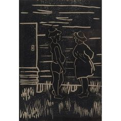 """Ruth G. Waddy, (American, 1909-2003), Just Liming (Tabago, West Indies), 1970, linoleum cut, Artist's proof, signed, titled, dated """"Tobago, (West Indies), '70"""", and inscribed """"A/P 8"""" in pencil in lower margin, original aritst label on verso, 8.5"""" x 5.75"""""""