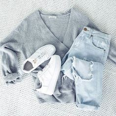 The 'Cry Baby' knit + 'Django' jeans + 'Racer' shoes are legit outfit goals Shop the look now via the link in our bio Teen Fashion Outfits, Mode Outfits, Jean Outfits, Trendy Outfits, School Outfits, Fall Winter Outfits, Autumn Winter Fashion, Summer Outfits, Looks Style