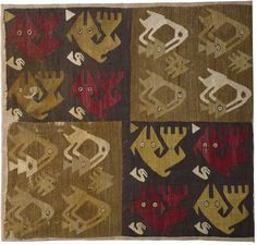 14th century wool tapestry panel with bird and fish motifs, Peru.