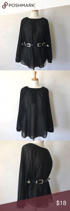 """Long Sleeve Sheer Top Very cute oversized sheer black top! 24"""" long, 25"""" sleeves. Preloved. (Belt not included) Tops Blouses"""