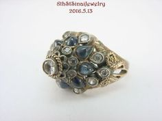 Estate 18K Yellow Gold Sapphire Thai Princess Harem Dome Cluster Ring Size 5 #Unbranded #Cluster