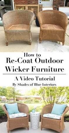 How to ReCoat Wicker Furniture is part of Wicker furniture Makeover - How to refresh aged or worn wicker furniture by recoating with a solid exterior stain Video tutorial showing products and process used Painting Wicker Furniture, Cane Furniture, Outdoor Wicker Furniture, Bamboo Furniture, Furniture Repair, Furniture Projects, Rustic Furniture, Antique Furniture, Patio Furniture Makeover