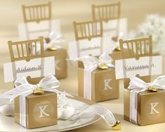 cute gold chair favor boxes!