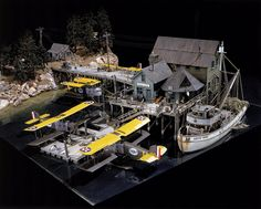 This diorama, created by model maker Jamie Pye, depicts the four Douglas World Cruisers at a refueling stop in Seward, Alaska, during their 1924 round-the-world flight.