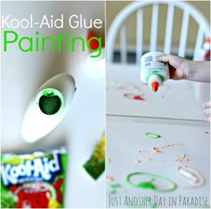 Just Another Day in Paradise: Fun with the Kids Friday: Kool-Aid Glue Painting