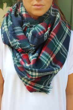 Mad About Plaid Infinity Scarf- Navy Blue