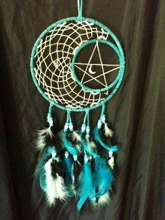 """7"""" Turquoise and White Moon and Star"""