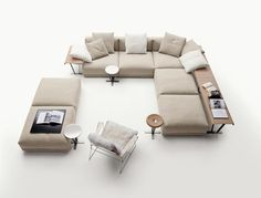 :: FURNITURE :: love modular seating with integrated tables as shown by Gallery Luis of B&B Italia, designed by one of my favourites Antonio Citterio #furniture