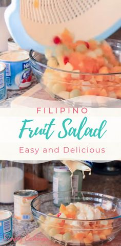 This Filipino Fruit Salad is a sweet, creamy and delicious dessert that is made of fruit cocktail, nata de coco, macapuno strings, nestle cream and condensed milk! It's super easy to make and a great dessert recipe for any occasion! Filipino Fruit Salad, Filipino Desserts, Fruit Salad Ingredients, Fruit Salad Recipes, Great Desserts, Delicious Desserts, Dessert Recipes, Nestle Cream, Christmas Desserts
