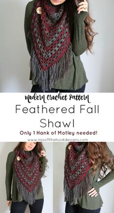 It's Fall Y'all and we have a fun, quick shawl pattern you're going to LOVE! The Feathered Fall Shawl. One of my Favourite yarns to work with is Sugar Bush Yarns Motley. The colours are to die for and I love the thin/thick weave that creatures amazing te Crochet Triangle Scarf, Crochet Poncho, Crochet Scarves, Crochet Clothes, Crochet Vests, Crochet Shirt, Crochet Beanie, Knitted Shawls, Crochet Motif