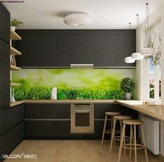 Кухня в темных тонах, зеленый фартук. Столешница у окна