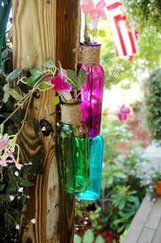 Trópico 3 colección botella color azul púrpura y verde yute botellas envueltas en cascada botellas para decoración del hogar, decoración de pared