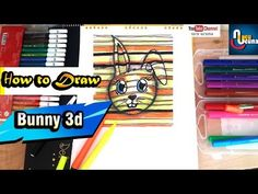 Learn how to draw a Cute Bunny Rabbit in this simple draw funny education video tutorial speed drawing with lines draw ı used globox jumbo water color pen. Bunny Drawing, Drawing For Kids, Line Drawing, Rabbit Gif, Bunny Rabbit, Baby Bunnies, Cute Bunny, Drawstring Bag Tutorials, Education Humor