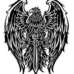Big wide eagle tattoo wallpaper : logo,eagle - Get best and original tattoos designs Tribal Eagle Tattoo, Eagle Tattoos, Tribal Tattoos, Animal Tattoos For Men, Tattoos For Guys, Viking Eagle, Cross Tattoo For Men, Eagle Art, Original Tattoos