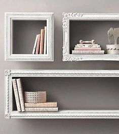 DIY SHELVES Find frames from a thrift store, attach wood to all sides, paint and hang on wall. New and creative shelves Diy Wall Art, Wall Decor, Nursery Decor, Project Nursery, Nursery Ideas, Diy Casa, Home And Deco, Display Shelves, Hanging Shelves