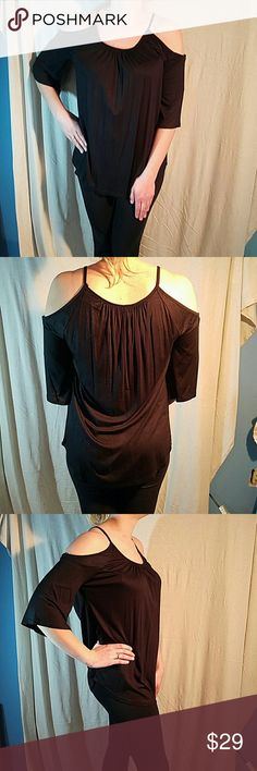Hi Beam Cold Shoulder blouse black Super soft SEXY 95% model cotton 5% spandex soft drapey flattering fit. Hi beam Tops Blouses