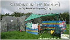 Tarps are an inexpensive way to make camping in the British climate that bit easier. In fact, you should take at least one tarp when you go. Camping Club, Camping Tarp, Camping In The Rain, Camping Glamping, Camping Survival, Camping Life, Camping With Kids, Family Camping, Campsite