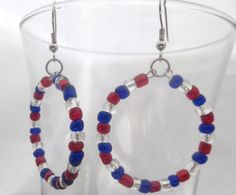 Red White and Blue Earrings 4th of July by DeelitefulJewelry, $15.00