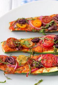 Zucchini Pizza Boats // easy & yummy