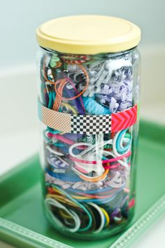 upcycled jar of hair bands @ fiveinthehive.com