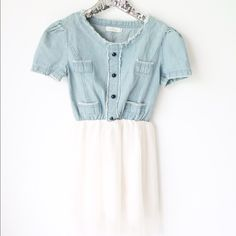 """Denim and Tulle Dress Adorable denim and tulle dress is perfect any day you want to look and feel pretty and girlie. Worn once in perfect condition. Bust up to 34"""" Length 34"""" Boutique Dresses"""