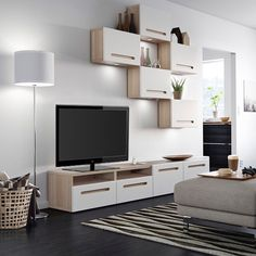 For an entertainment center that's neat, stylish and completely customizable - double tap if you have BESTÅ in your - - Wall Unit Designs, Tv Unit Design, Deco Tv, Ikea Entertainment Center, Living Room Designs, Living Room Decor, Modern Tv Units, Tv Furniture, New Beds