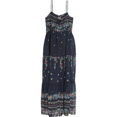 SEA Tiered floral-print cotton and silk-blend midi dress ($290) ❤ liked on Polyvore featuring dresses, navy, floral print dress, navy midi dress, neck ties, tiered dress and floral necktie