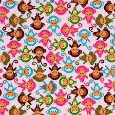 Tissu rose avec des singes multicolores, Robert Kaufman - Tissus Animaux - Tissus - boutique kawaii modeS4u