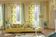 """Designers Guild """" Charlottenberg"""" Printed Cotton, Yellow and Green Floral Pattern, From J Tricia Guild, Luxury Home Decor, Luxury Homes, Yellow Interior, Made To Measure Curtains, Designers Guild, Mid Century Style, Home And Living, Fabric Design"""
