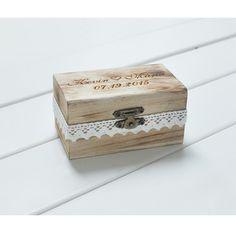 Cadeau personnalisé rustique porteur anneau de mariage boîte personnalisée vos noms et Date Engrave bois boîte de bague de mariage