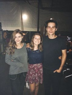 Dylan O'Brien, Holland Roden and a fan on the set of Teen Wolf Season 5B