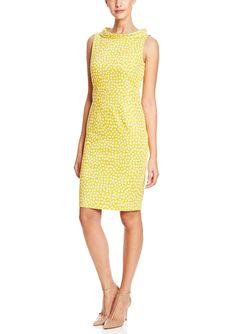 ANNE KLEIN DRESS Printed Pique Roll Neck Sheath Dress | ideel
