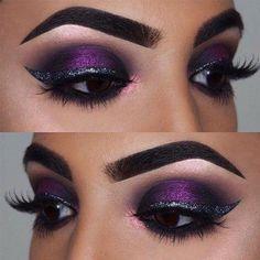 Stunning Smokey Eye Makeup Ideas picture 4 #EyeMakeupCutCrease Dramatic Wedding Makeup, Dramatic Eye Makeup, Smokey Eye Makeup, Bridal Makeup, Eye Makeup Glitter, Purple Eye Makeup, Purple Smokey Eye, Purple Eyeshadow, Eyeshadow Palette