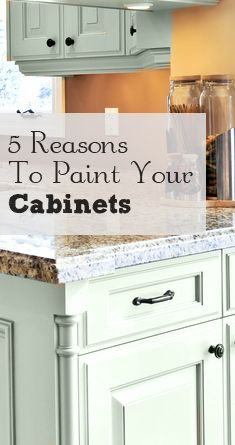5 Reasons to Paint Your Kitchen Cabinets. Never thought of that color for cabinets. It's beautiful.