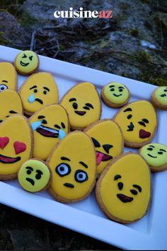 Une recette de biscuits de Pâques pour les enfants : les sablés oeuf de Pâques en forme d'émoticônes. #recette#cuisine#sable #biscuit #paques#patisserie Sweet Cookies, Shape, Children