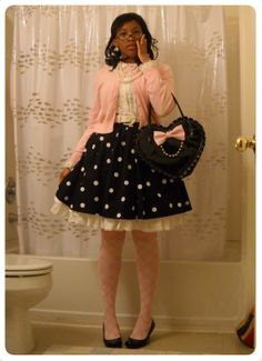 Lolita classic, casual coord. Black and pink is always a killer combo.
