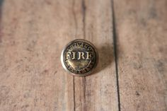 Chicago Fire Dept Tie Pin Chicago FD Lapel Pin - made with a vintage uniform button by AngleAh on Etsy