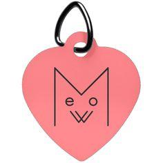 Meow Heart Pet Tag, Black Design – Optic Poem Design