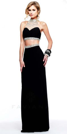 Sequined two piece prom dresses by Faviana