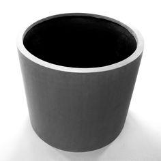 Pflanzkübel Fiberglas, zylindrisch D40xH30cm grau. Ohne Wasserablaufloch.