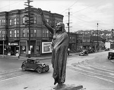 Chief Seattle statue at Fifth and Denny, 1936 by Seattle Municipal Archives, via Flickr