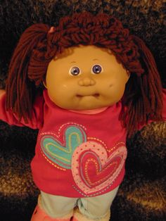 Cabbage Patch Kid 1986 Girl Brown Hair Valentine Hearts Shirt Heart Shoes | eBay