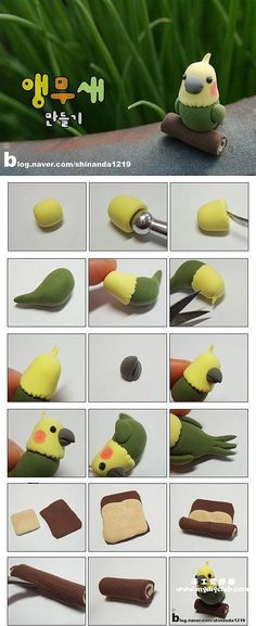 6 tutorials of birds Fimo fondant sugar paste almond paste Cute Polymer Clay, Polymer Clay Animals, Cute Clay, Fimo Clay, Polymer Clay Charms, Polymer Clay Projects, Polymer Clay Creations, Ceramics Projects, Polymer Clay Tutorials