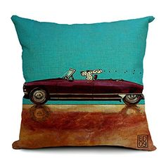 18''X 18'' Driving Dogs Cotton Linen Decorative Throw Pillow Cover Cushion Case (Green) DollKing http://www.amazon.com/dp/B00LITR7US/ref=cm_sw_r_pi_dp_EXXBwb1SEJZHD