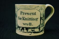 """Antique Staffordshire Child's Mug - """"Present for Knitting Well"""" - unusual Childrens Cup, Mugs And Jugs, Baby Dishes, Antique Pottery, China Patterns, Mug Shots, Rare Antique, Drinking Tea, Kids Playing"""