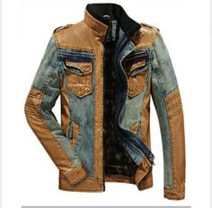 Mens Denim Leather Mixed Long Sleeve Stand Collar Jackets Motorcycle Cool Coats #NEW #BasicJacket