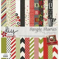 DIY Christmas 12x12 Paper Kit Simple Stories Scrapbook Card Making Chevron Polka Dots Stripes Flowers Snowman Advent Holly Snowflakes Hearts by InkyHotMess on Etsy