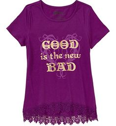 Descendants Girls Good is the New Bad Short Sleeve Shirt with Crochet Hem Medium 78 ** See this great product.